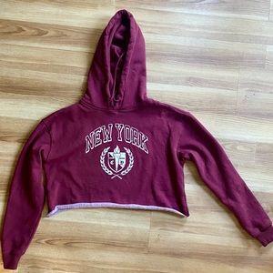 Vintage Inspired NY Cropped Hoodie Sweatshirt